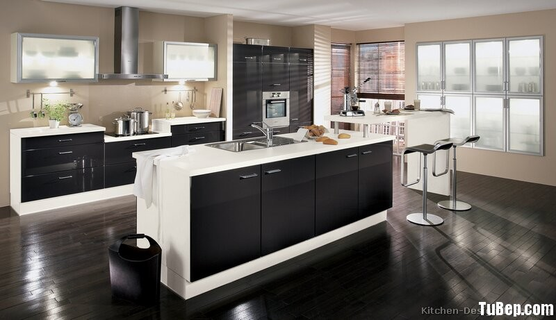 pictures of white kitchen cabinets with black island tủ bếp acrylic c 243 đảo kết hợp quầy bar hiện đại tbh305 24718