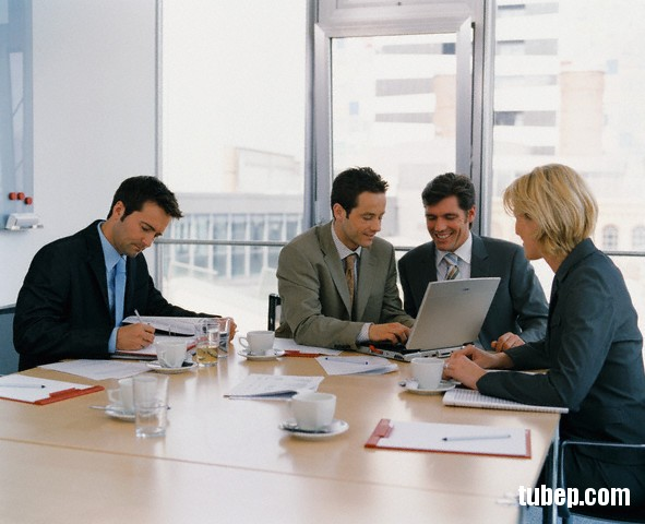 Four Businesspeople in a Meeting