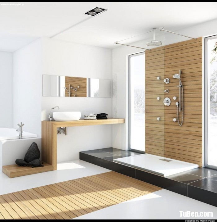 Modern-bathroom-with-unfinished-wood-700x715