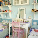 Pair of single beds in childrens room