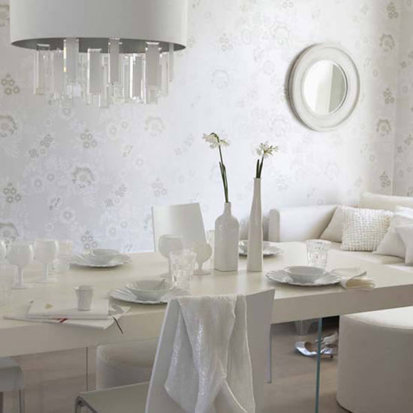 Dining room designer Air set table by Danielle Lago, chairs bottle vases large pendant light floral pearlescent silver wallpaper round mirror L etc 05/2008 pub orig