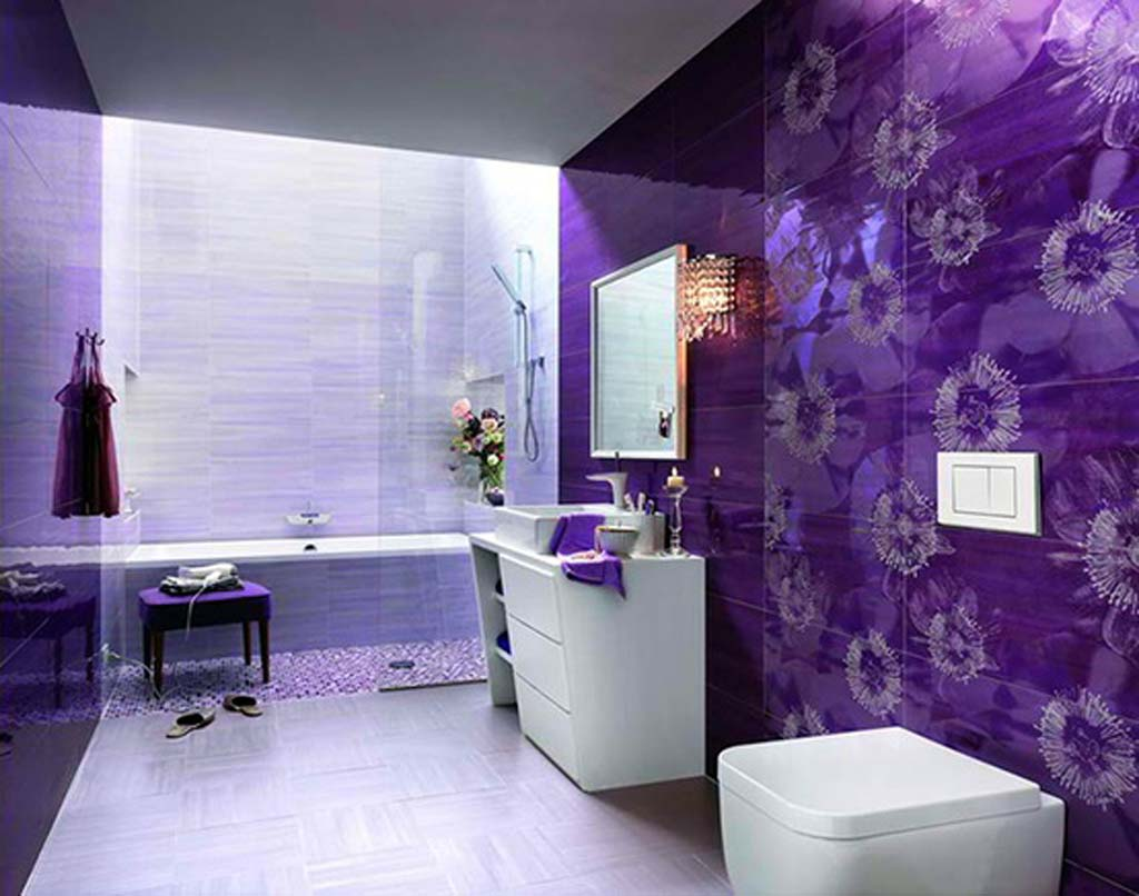 Bathroom-Painting-Design-Ideas-mesmerizing-bathroom-paint-ideas-with-purple-painting-and-flower-accent-gives-sharp-ultra-modern-look
