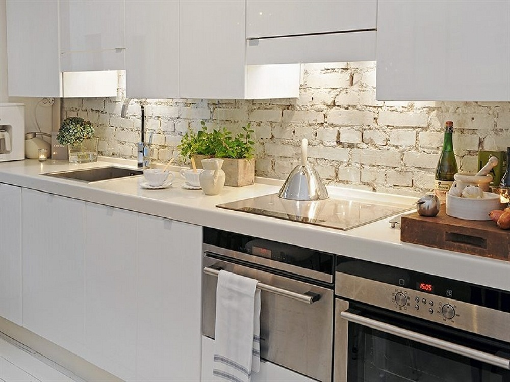 Kitchen Open Shelving In Kitchen With Brick Built In Kitchen With Kitchen With Brick Backsplash Ideas - cukni.com